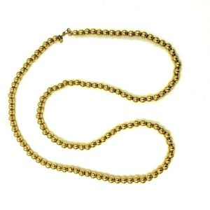 MONET Gold Tone Metal Bead Long Necklace